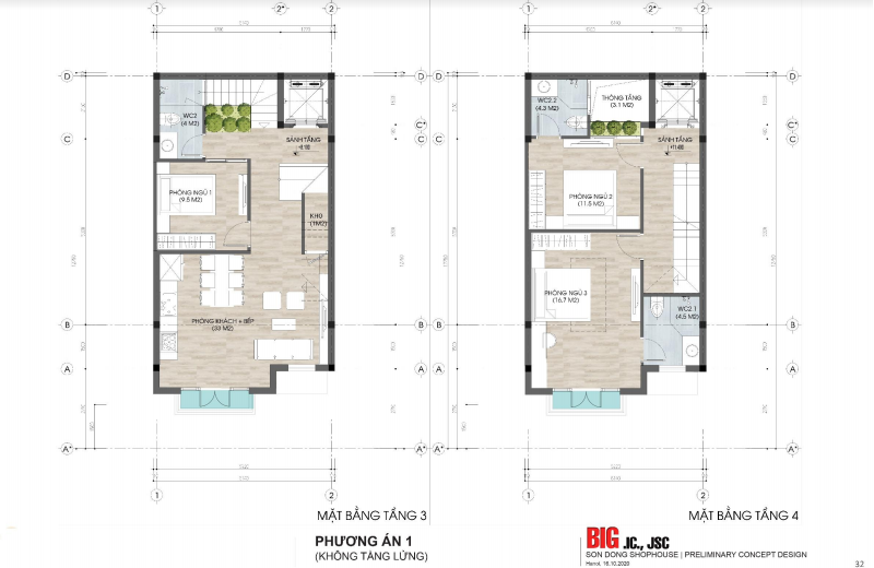 Mặt bằng tầng 3-4 nhà phố khu đất đấu giá Sơn Đồng - Song Phương