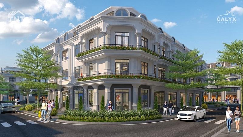 Phối cảnh liền kề lô góc dự án Calyx Residence 319 Uy Nỗ - Đông Anh