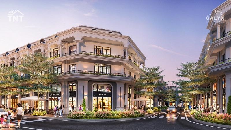 Phối cảnh shophouse lô góc dự án Calyx Residence 319 Uy Nỗ - Đông Anh