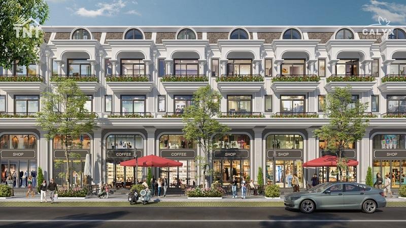 Phối cảnh shophouse lô thường dự án Calyx Residence 319 Uy Nỗ - Đông Anh