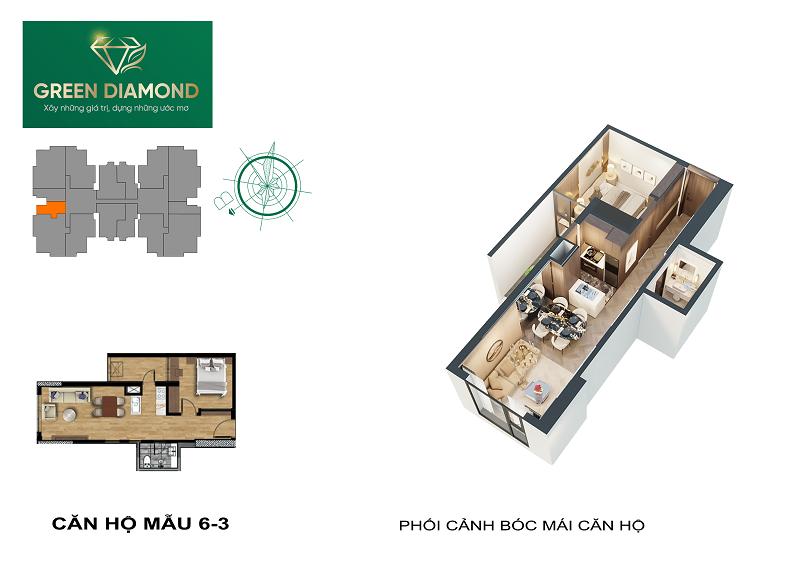 Thiết kế căn hộ 1n diện tích 50m2 chung cư Green Diamond 93 Láng Hạ