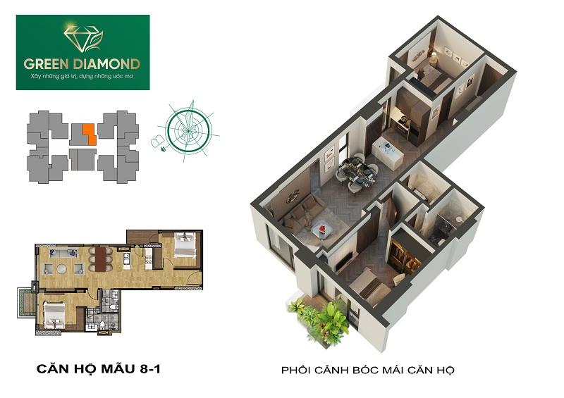 Thiết kế căn hộ 2n diện tích 72m2 chung cư Green Diamond 93 Láng Hạ