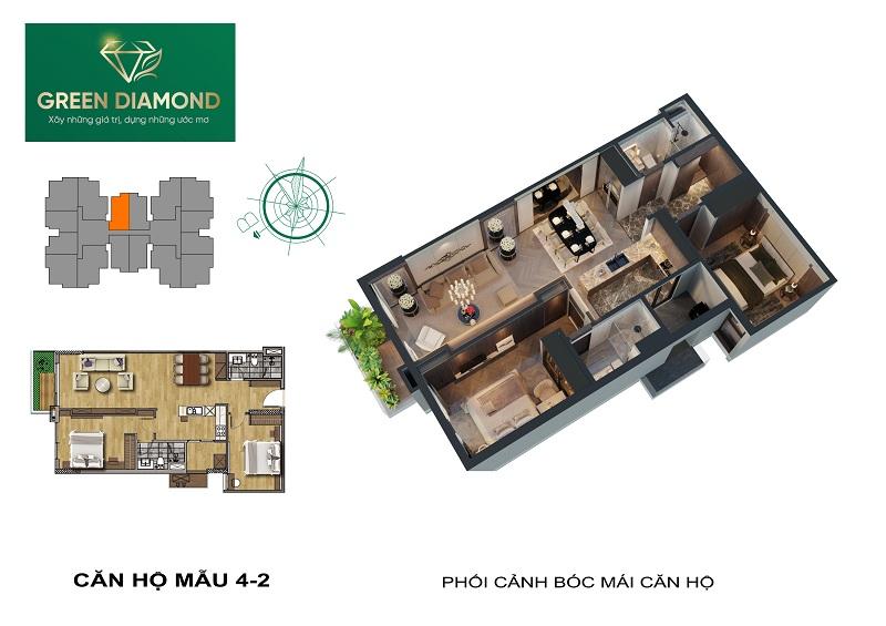 Thiết kế căn hộ 2n diện tích 88m2 chung cư Green Diamond 93 Láng Hạ