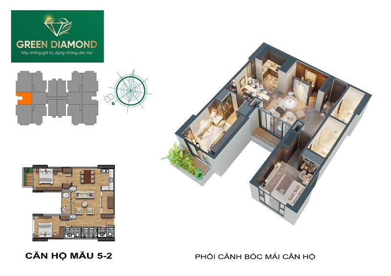 Thiết kế căn hộ 2n diện tích 94m2 chung cư Green Diamond 93 Láng Hạ