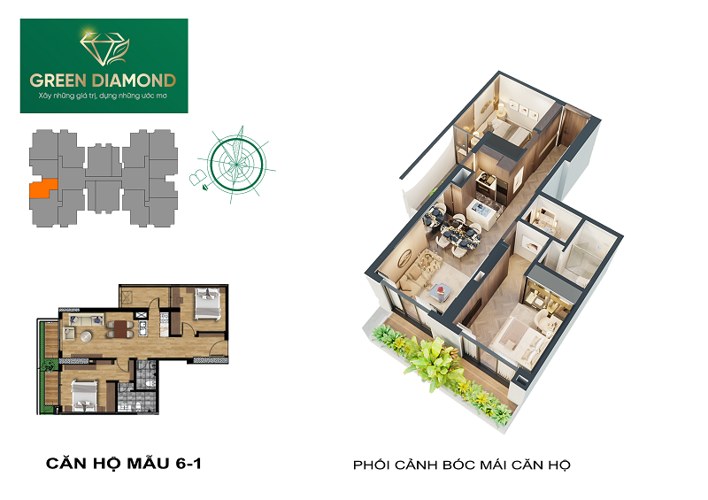Thiết kế căn hộ 2n diện tích 96m2 chung cư Green Diamond 93 Láng Hạ
