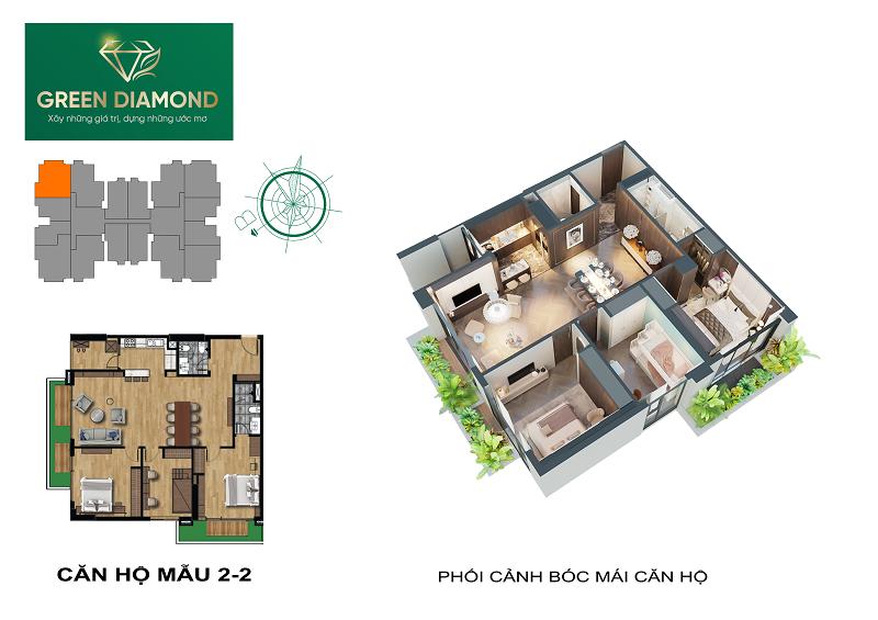 Thiết kế căn hộ 3n diện tích 140m2 chung cư Green Diamond 93 Láng Hạ