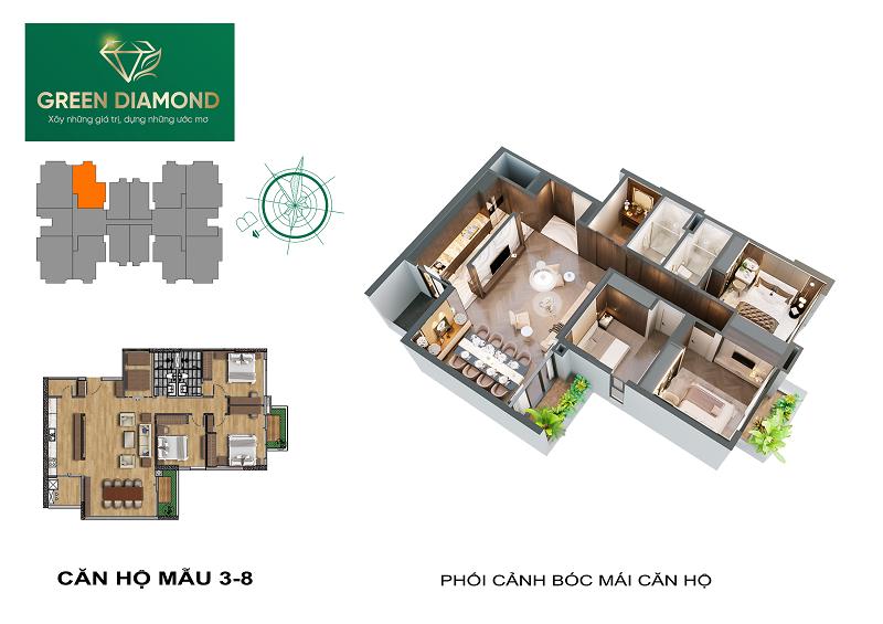 Thiết kế căn hộ 3n diện tích 142m2 chung cư Green Diamond 93 Láng Hạ