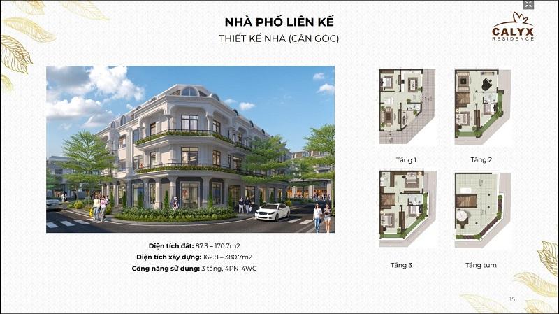 Thiết kế liền kề lô góc dự án Calyx Residence 319 Uy Nỗ - Đông Anh