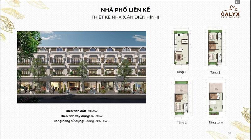 Thiết kế liền kề lô thường dự án Calyx Residence 319 Uy Nỗ - Đông Anh