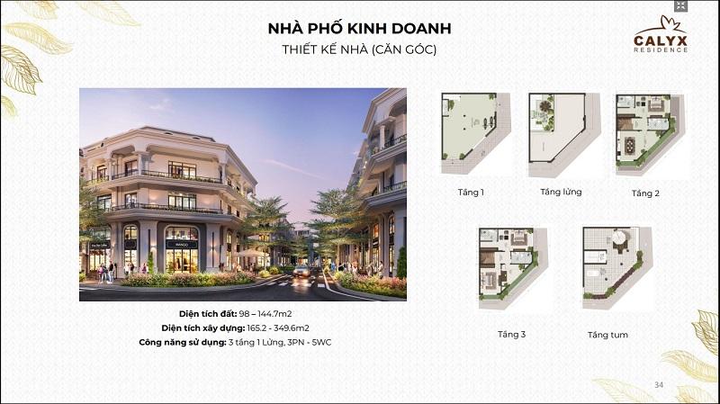 Thiết kế shophouse lô góc dự án Calyx Residence 319 Uy Nỗ - Đông Anh