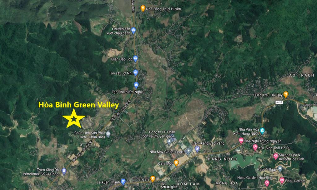 Vị trí dự án đất nền Hòa Bình Green Valley Hòa Lạc