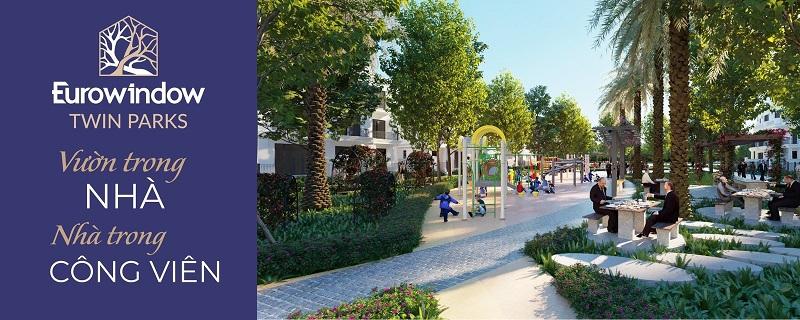 Không gian xanh dự án Eurowindow Twin Parks Trâu Quỳ - Gia Lâm