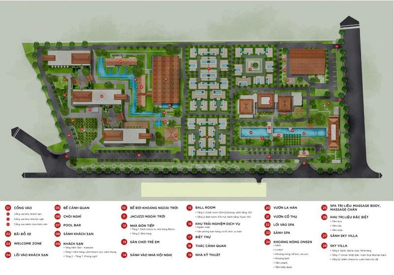 Mặt bằng tiện ích dự án Apec Kim Bôi - Hòa Bình Mandala Hot Spring Retreat