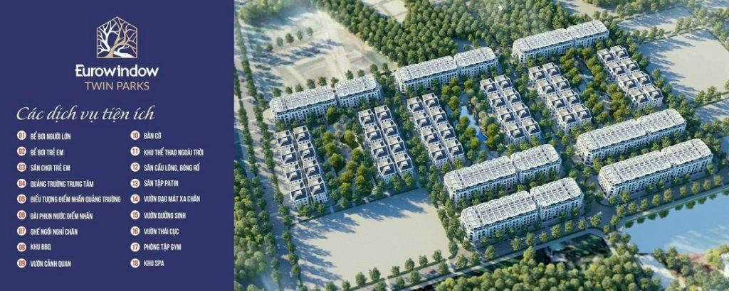 Mặt bằng tiện ích dự án Eurowindow Twin Parks Trâu Quỳ - Gia Lâm
