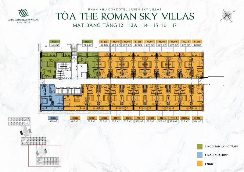 Mặt bằng tòa The Roman tầng 12 đến 17 dự án Apec Mandala Kim Bôi - Hòa Bình