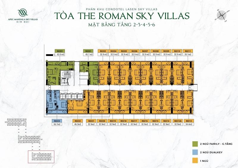 Mặt bằng tòa The Roman tầng 2 đến 6 dự án Apec Mandala Kim Bôi - Hòa Bình