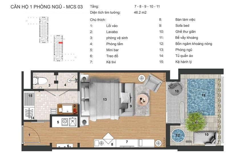 Thiết kế căn hộ 1n có bể bơi dự án Apec Mandala Kim Bôi - Hòa Bình