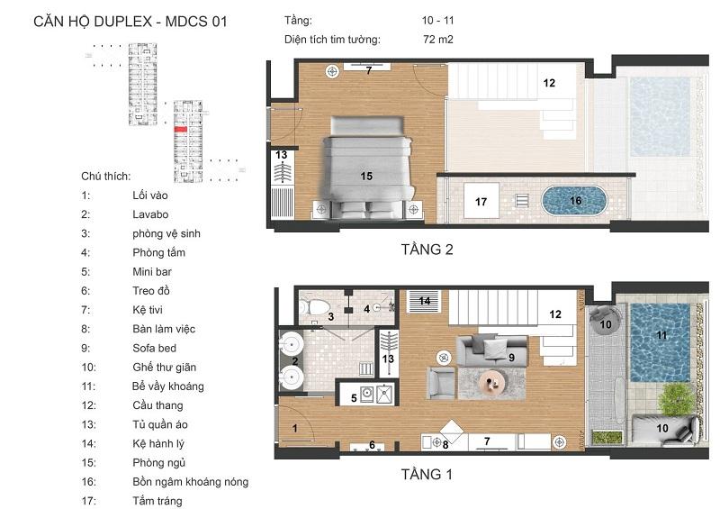 Thiết kế căn hộ duplex dự án Apec Mandala Kim Bôi - Hòa Bình