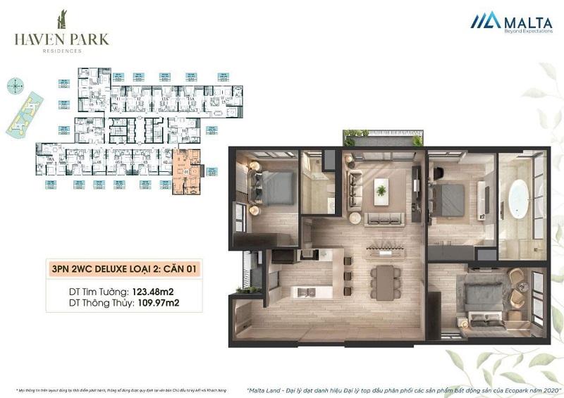 Thiết kế căn hộ số 01 Haven Park Ecopark