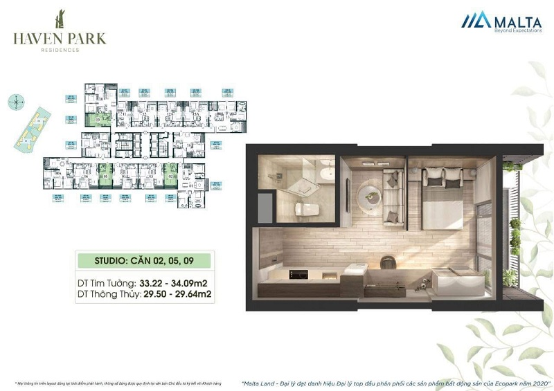Thiết kế căn hộ số 02-05-09 Haven Park Ecopark