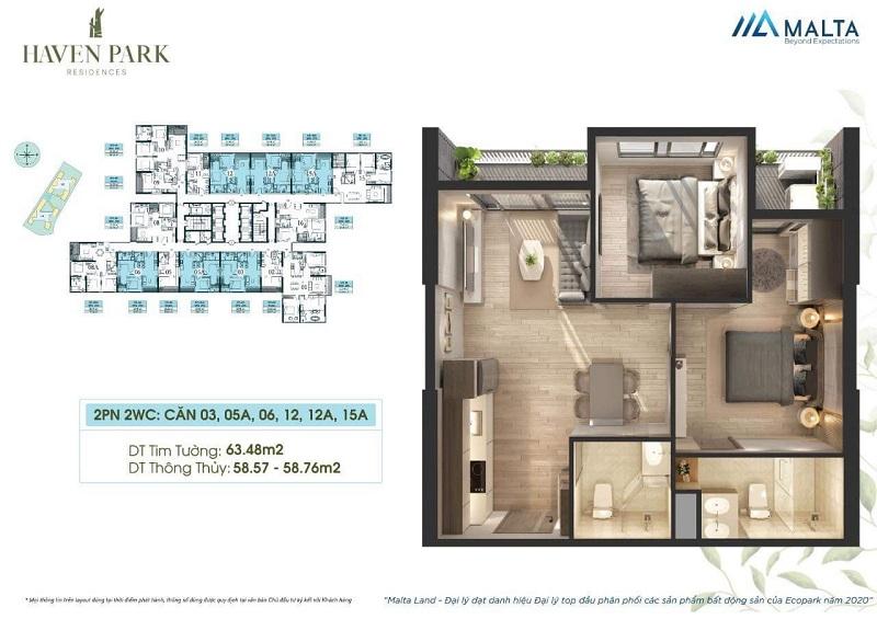 Thiết kế căn hộ số 03-05A-06-12-12A-15A Haven Park Ecopark