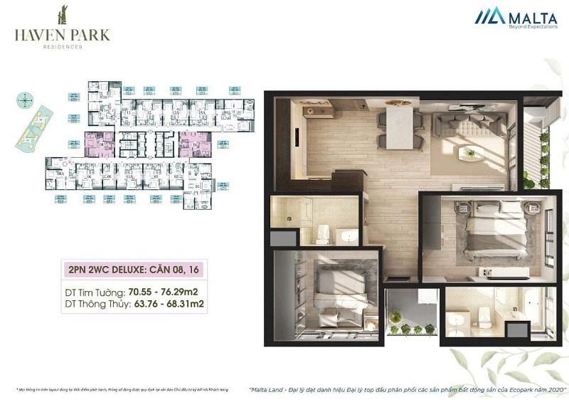Thiết kế căn hộ số 08-16 Haven Park Ecopark