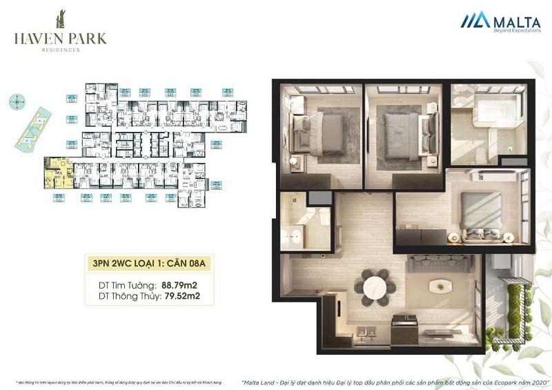 Thiết kế căn hộ số 08A Haven Park Ecopark