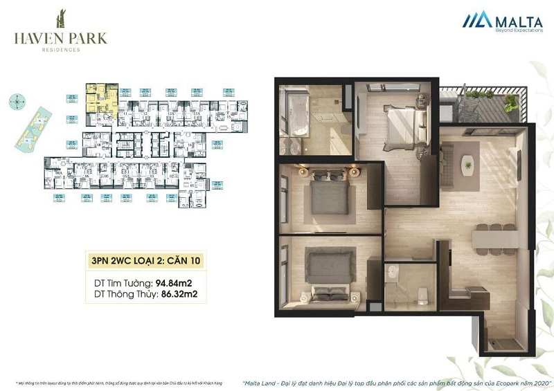 Thiết kế căn hộ số 10 Haven Park Ecopark