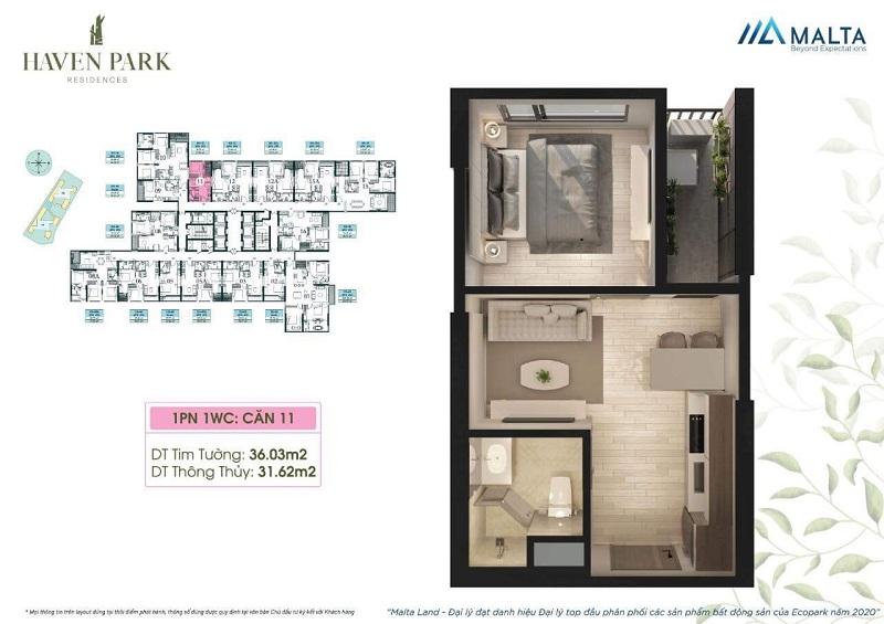 Thiết kế căn hộ số 11 Haven Park Ecopark