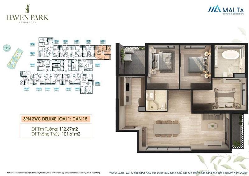 Thiết kế căn hộ số 15 chung cư Haven Park Ecopark