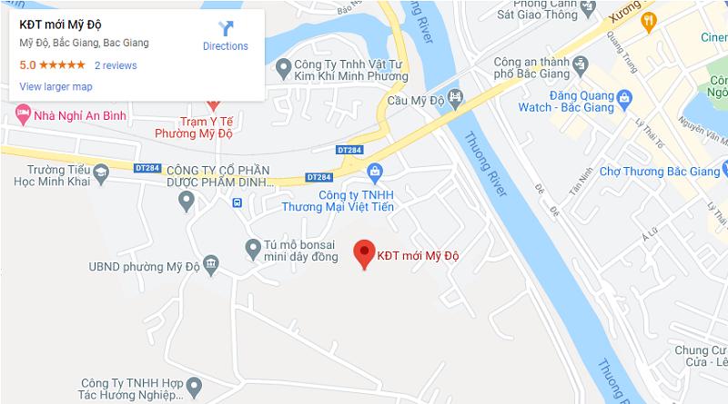 Vị trí khu đô thị mới Mỹ Độ - Thành phố Bắc Giang