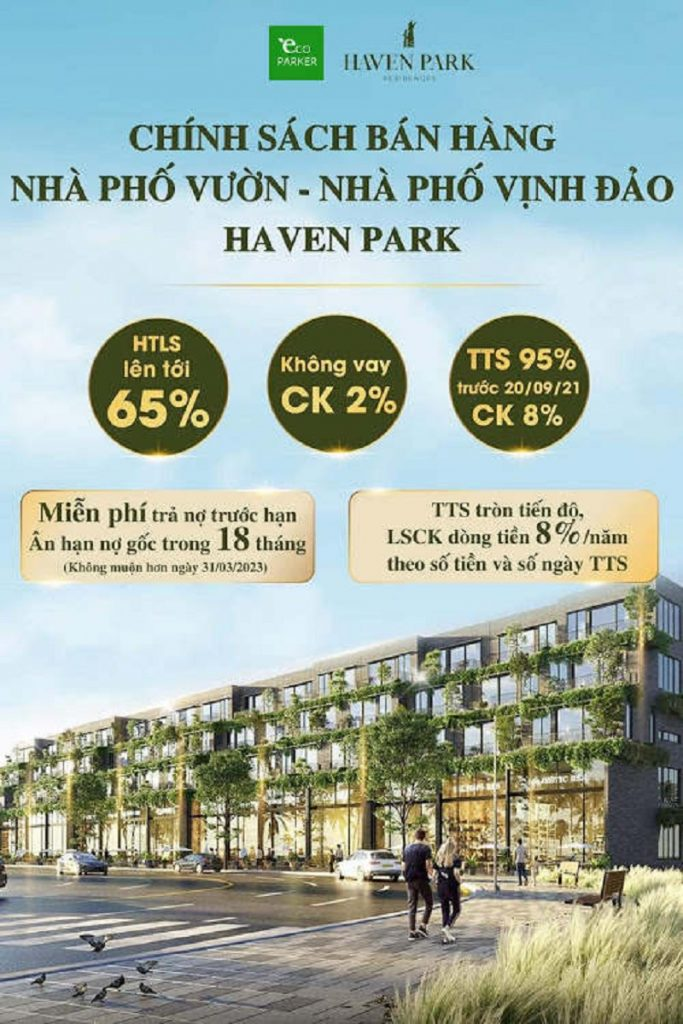 Chính sách bán hàng dự án nhà phố Haven Park Ecopark