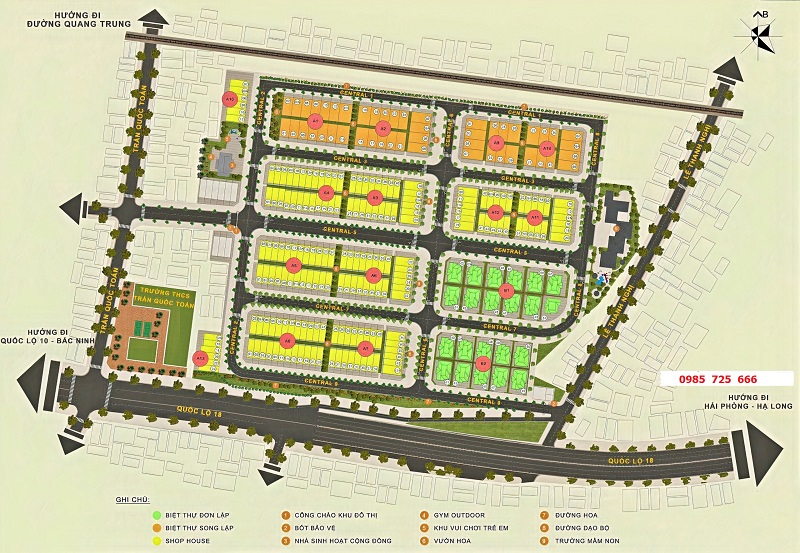 Mặt bằng phân lô dự án Central City Lạc Trung - Uông Bí