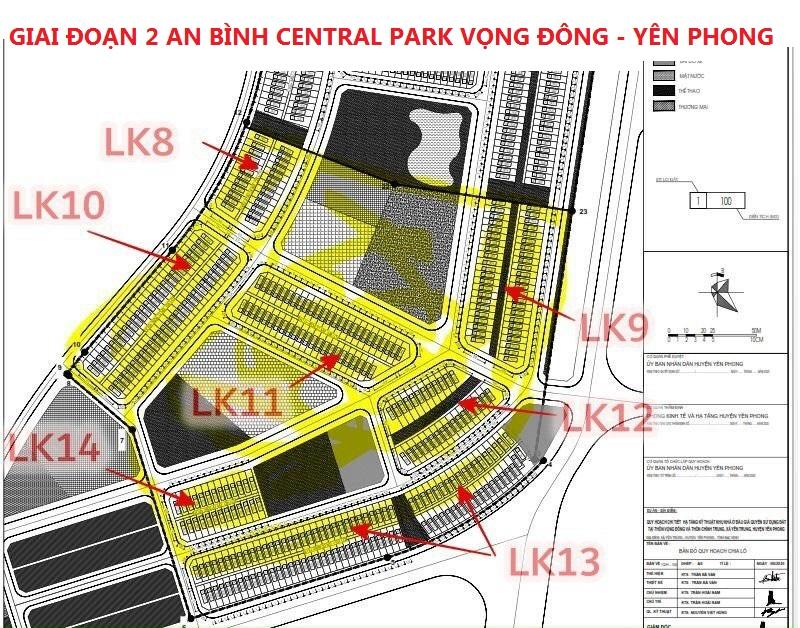 Mặt bằng phân lô GĐ2 An Bình Vọng Đông Central Park Yên Phong - Bắc Ninh