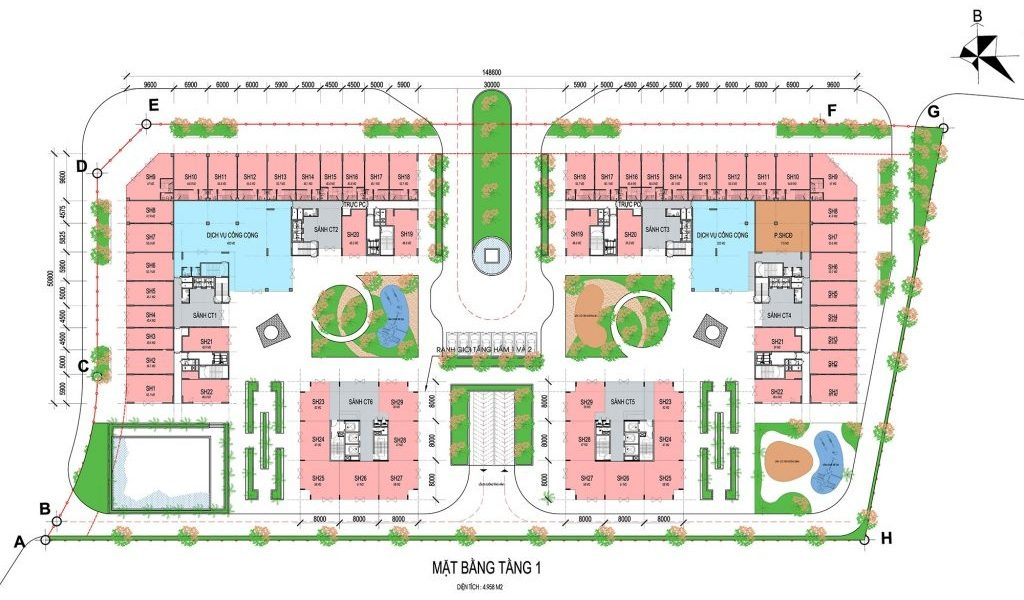 Mặt bằng tầng 1 Shophouse khối đế dự án Eco Smart City Cổ Linh - Long Biên