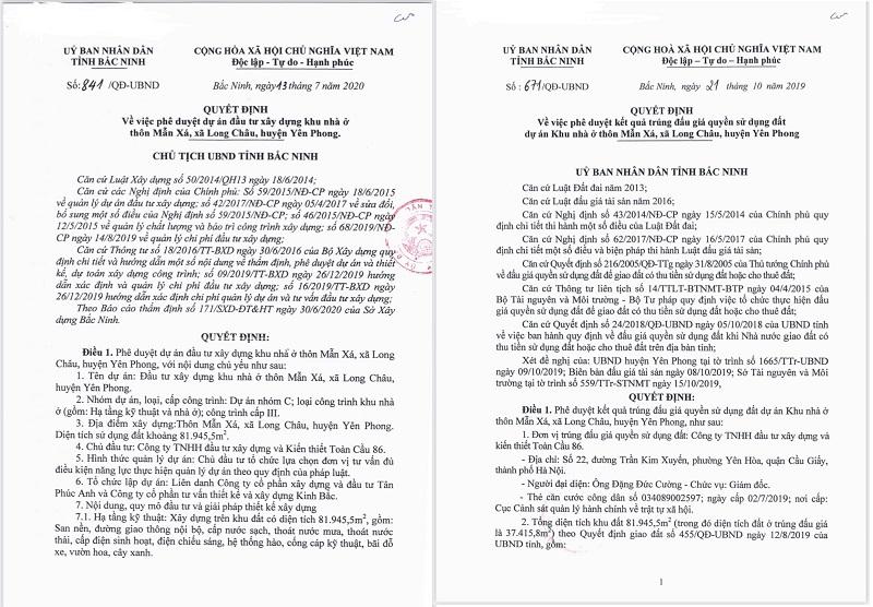 Pháp lý hoàn chỉnh khu nhà ở Mẫn Xá - Long Châu