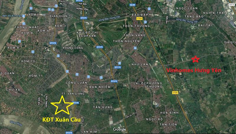 Vị trí dự án khu đô thị sinh thái Xuân Cầu - Văn Giang