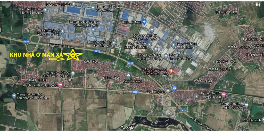 Vị trí khu nhà ở Mẫn Xá - Yên Phong trên bản đồ