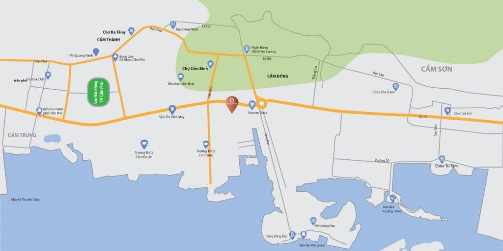 Bản đồ Shophouse Platin Center Cẩm Phả