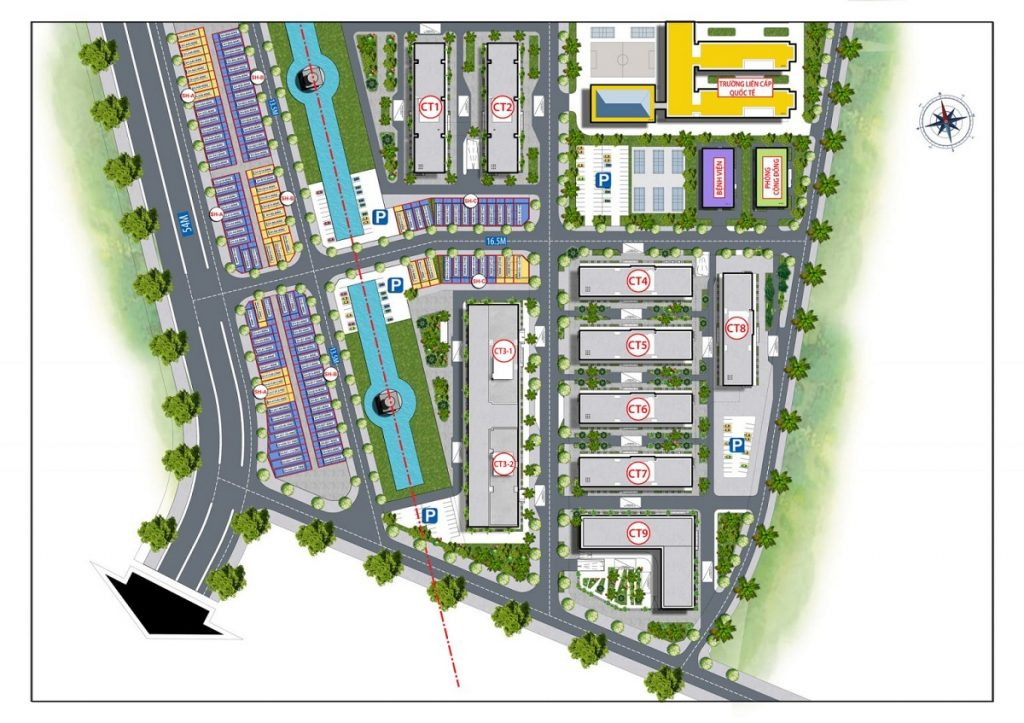 Mặt bằng phân lô dự án Shophouse Cát Tường Smart City Yên Phong
