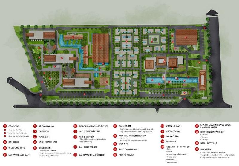 Mặt bằng tiện ích dự án Apec Mandala Sky Villas Kim Bôi - Hòa Bình