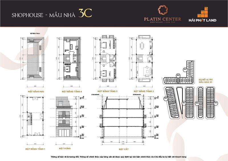 Mẫu nhà 3C Shophouse Platin Center Cẩm Phả