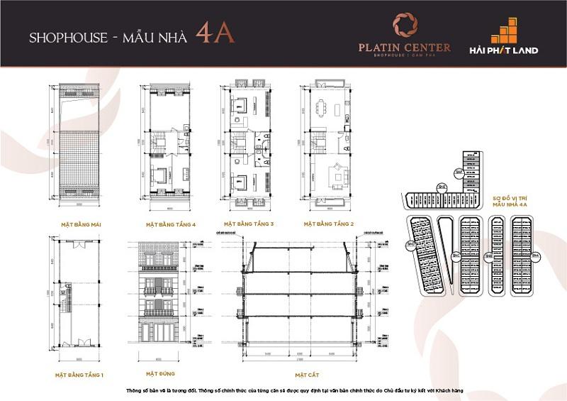 Mẫu nhà 4A Shophouse Platin Center Cẩm Phả