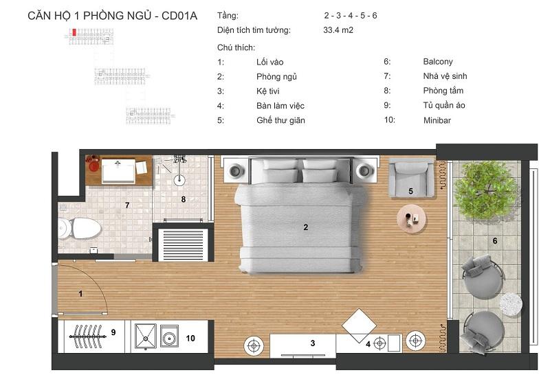 Thiết kế Căn hộ 1PN dự án Apec Mandala Sky Villas Kim Bôi - Hòa Bình