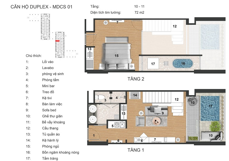 Thiết kế Duplex dự án Apec Mandala Sky Villas Kim Bôi - Hòa Bình
