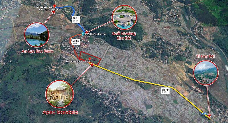 Vị trí dự án Apec Mandala Sky Villas Kim Bôi - Hòa Bình