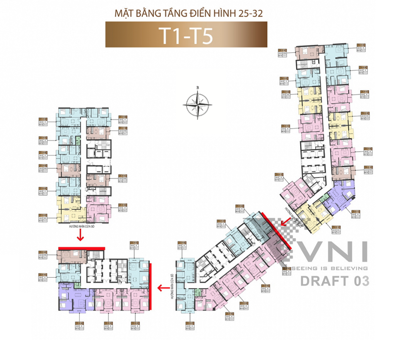 Mặt bằng căn hộ toà T1-T5 tầng 25 đến 32 chung cư Sun Marina Town Hạ Long