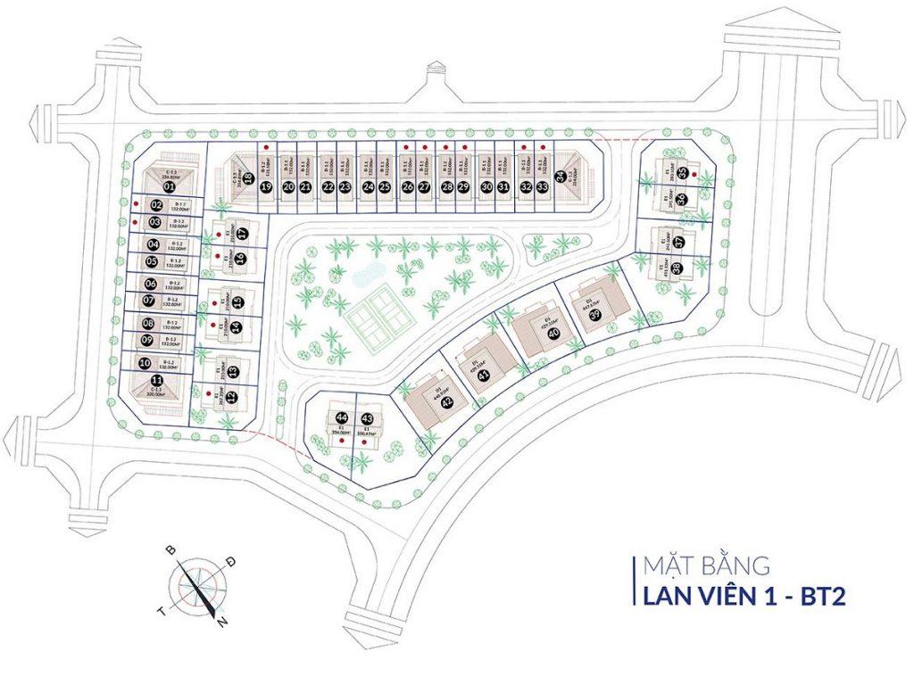Mặt bằng phân lô biệt thự Lan Viên 1 - BT2 Villa Đặng Xá - Gia Lâm