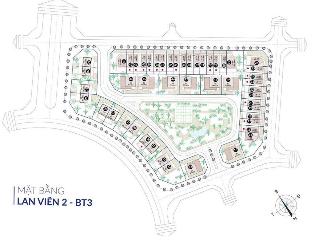 Mặt bằng phân lô biệt thự Lan Viên 2 - BT3 Villa Đặng Xá - Gia Lâm