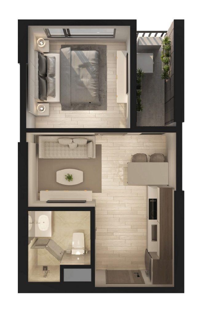 Thiết kế căn hộ 1PN Swan Park Onsen Residences Ecopark